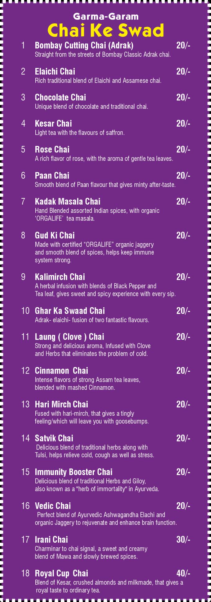 Chai ke Swad - Menu